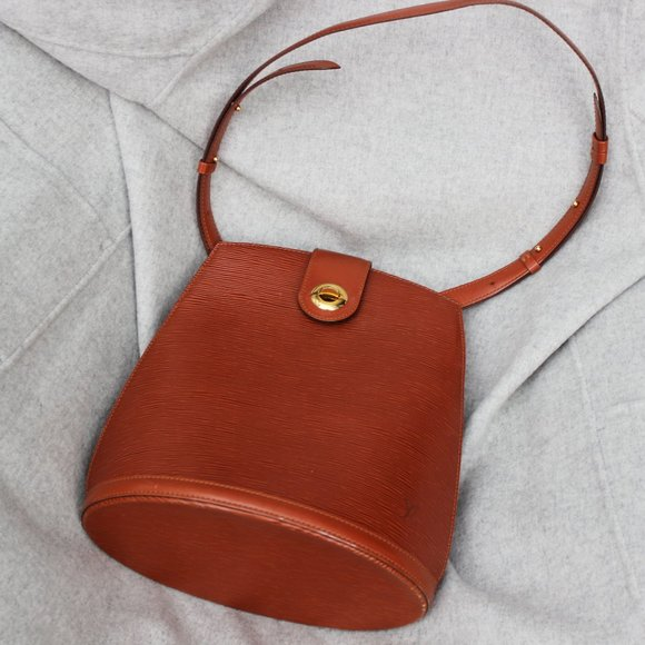 Louis Vuitton Epi Leather Brown Cluny Bucket Bag